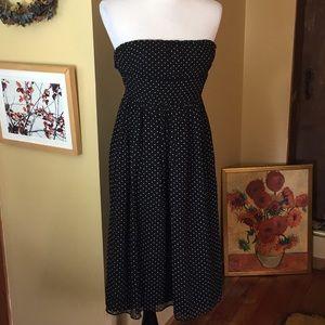 J CREW sz 0 Silk Strapless Polkadot Dress $240 new